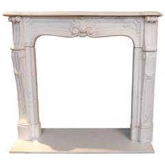 Small Rococo Style Louis XV Statuary White French Marble Surround