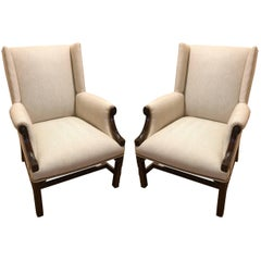 Stunning Pair of Chippendale Mahogany Upholstered Herringbone Armchairs