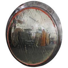 Large Vintage Convex Station Mirror with Aged Silvering, 1920s