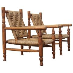 Charlotte Perriand Style Sisal Rope Easy Chairs. France 1950's