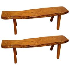 Finnish Wood Pair of Benches by Olavi Hänninen, First Edition, 1958