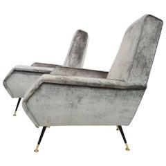 Italian velvet armchairs by Gigi Radice with stiletto brass feet, 1955