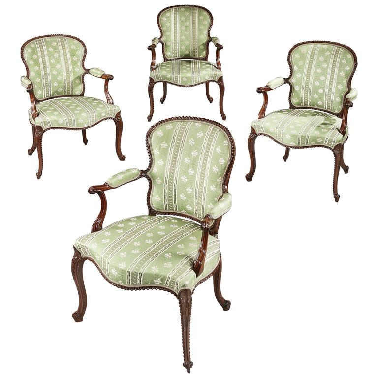 Magnificent Set of Four George III Mahogany Armchairs For Sale