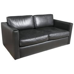 Charles Pfister for Knoll Settee in Black Leather