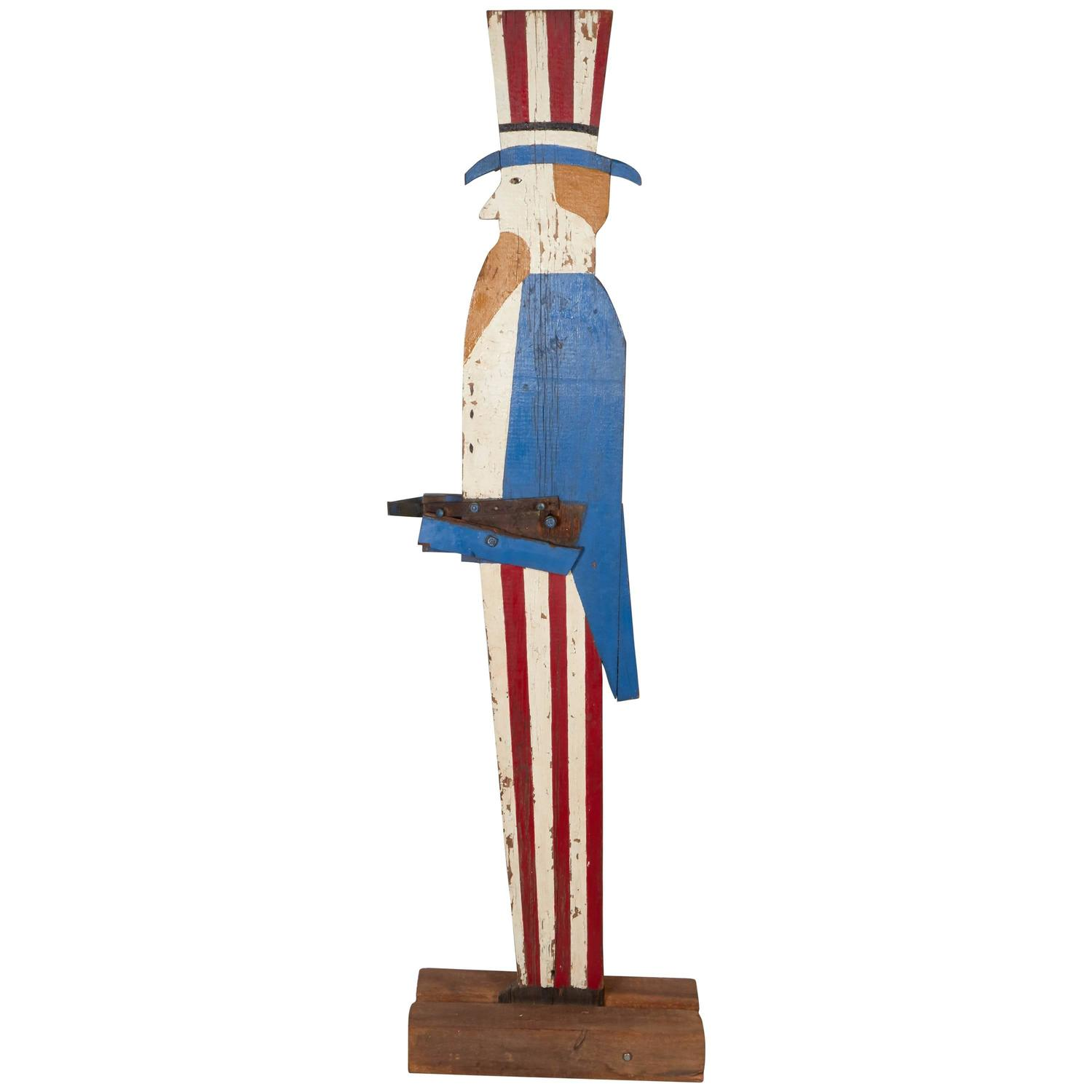 Huge old hand carved wood federal eagle folk art wooden eagle wall - Very Tall Wooden Uncle Sam Flag Holder With Old Paint Antique American Hand Carved Wood Eagle