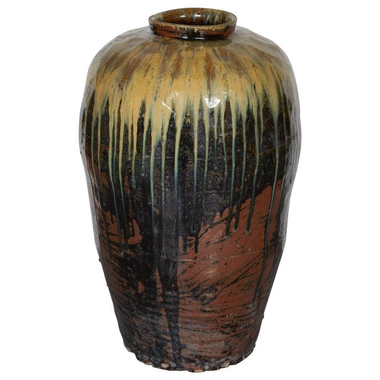 Tall Antique Ceramic Wine Jar For Sale