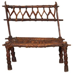 Rustic Antique Wood and Leather Bench with Great Patina and Character