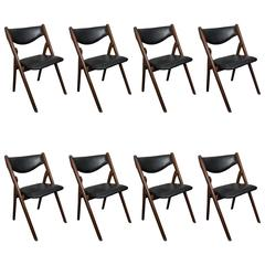 Set of Eight Vintage Mid-Century Folding Dining Chairs