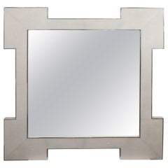 Custom Square Shagreen Mirror with Square Edges