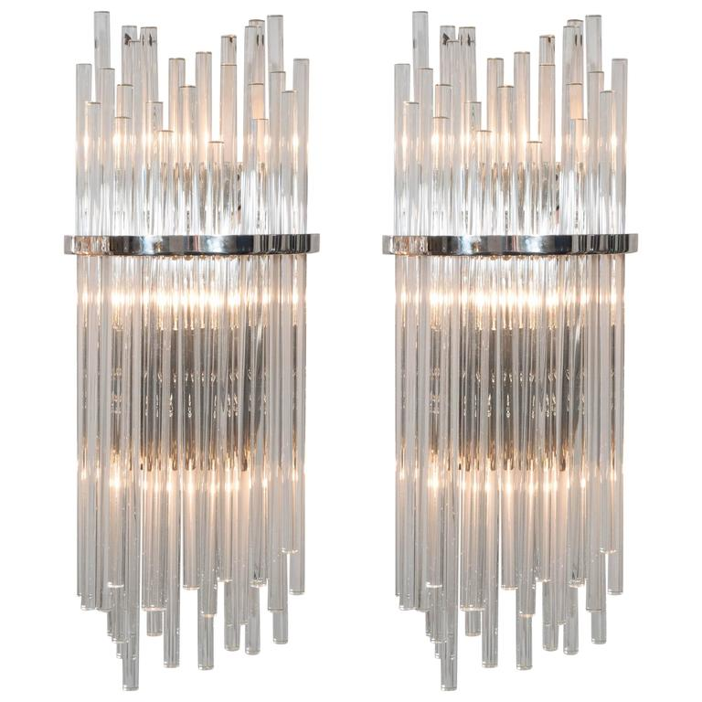 Pair of Custom Large Glass Rod Sconces