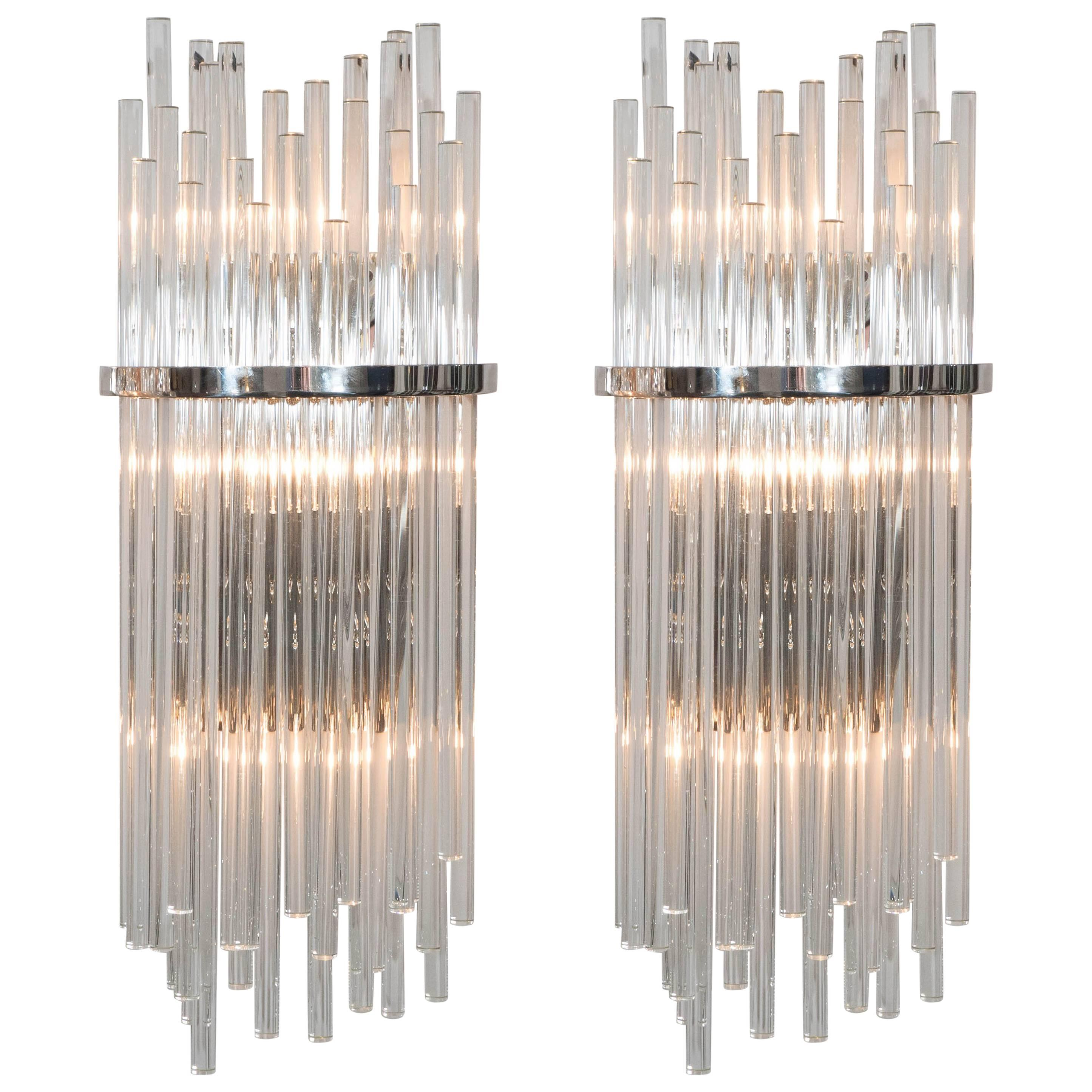 Pair of Custom Large Glass Rod Sconces with Polished Nickel Frame