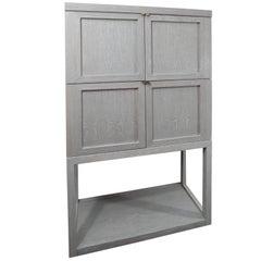 Custom Gray Cerused Wood Bar