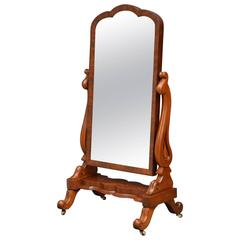 Fine Early Victorian Mahogany Cheval Mirror