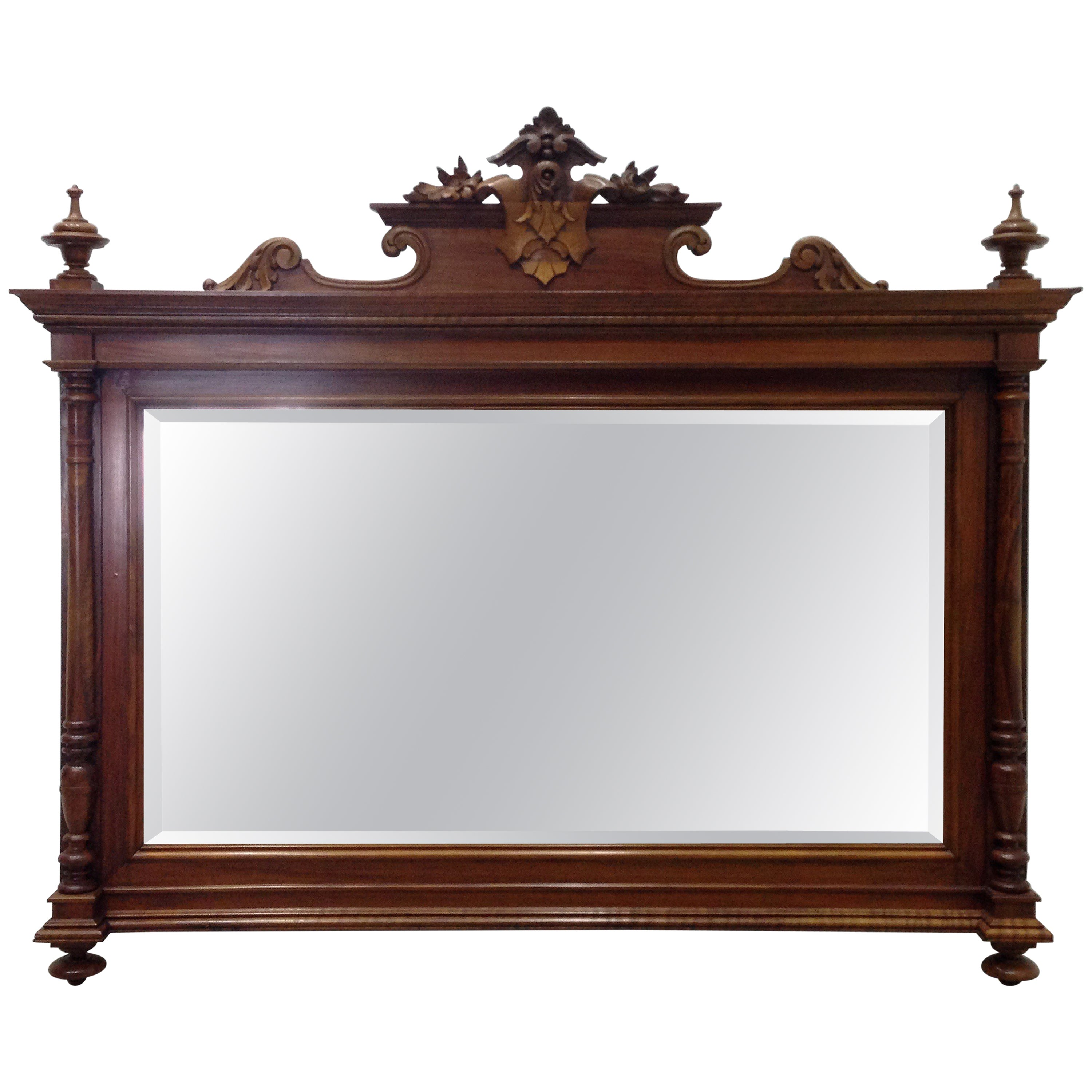 George IV Period Walnut Carved Horizontal Mirror