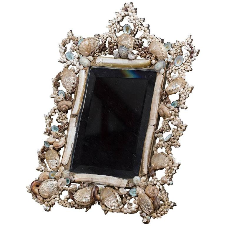 French Table Top Vanity Shell Mirror Iron Frame, circa 1890