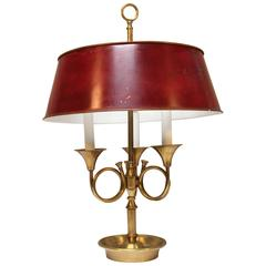 French Bronze and Tole Louis XVI Style Bouilliotte Lamp