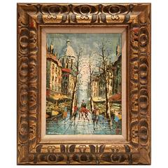 "Mid- Century Original Oil on Canvas, ""Paris Market"" By, Adelman"