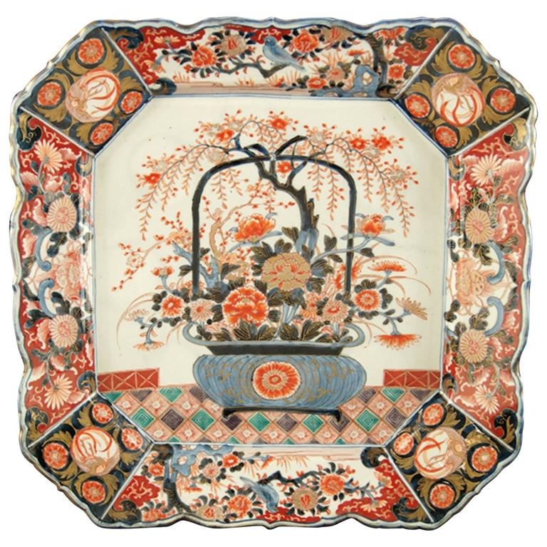 19th Century Japanese Imari Porcelain Square Charger of Impressive Scale 1