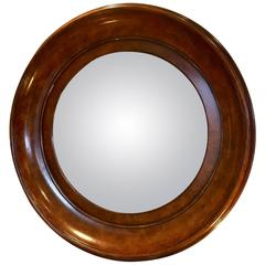 Handsome Convex Mirror in Rich Round Burl Wood Frame