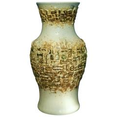 Early Contemporary Handmade and Hand Glazed Classic Relief Carved Vase