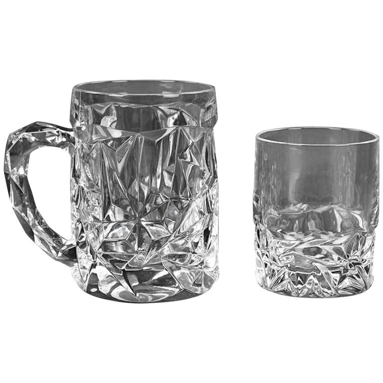 Tiffany & Company Barware Set, 12 Beer Mugs and 12 Low Ball, Rock Cut Pattern 1