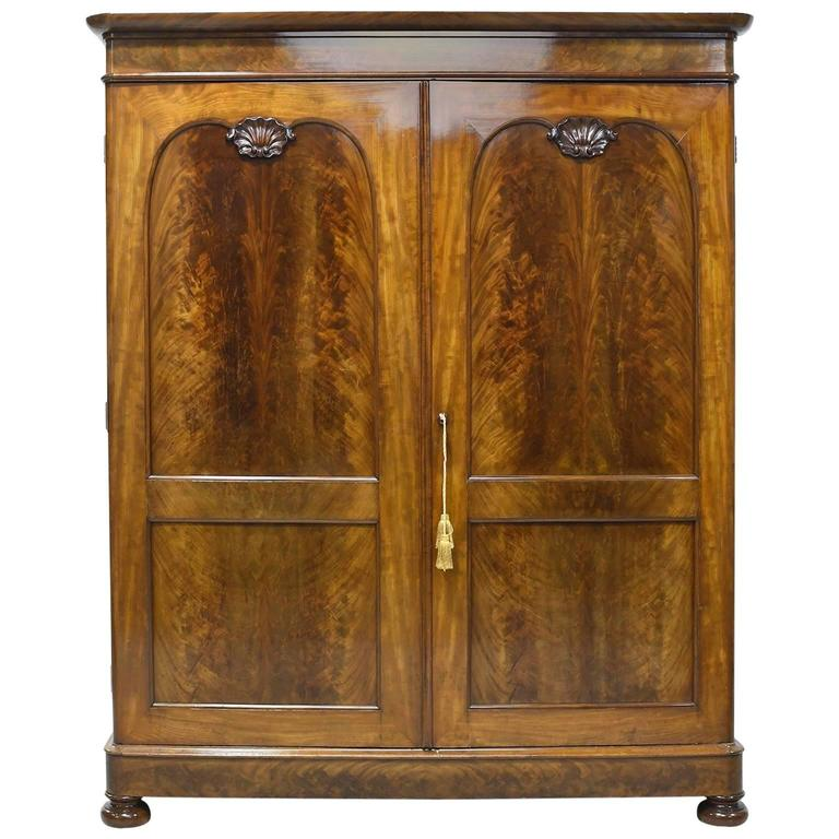 large french louis philippe armoire in figured mahogany. Black Bedroom Furniture Sets. Home Design Ideas