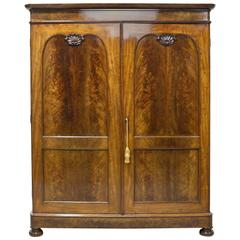 Large French Louis Philippe Armoire in Figured Mahogany with Original Interior
