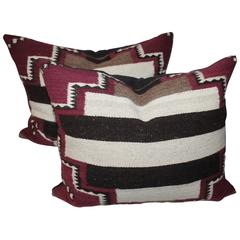 Pair of Navajo Weaving Bolster Pillows