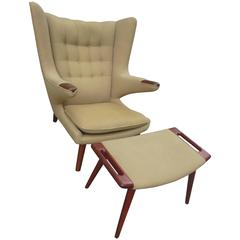 Hans Wegner Papa Bear Chair and Ottoman in Teak for AP Stolen