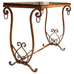 French Gilded Iron Table with Marble Top
