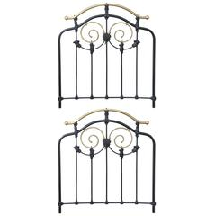 Pair of 1900's English Twin Brass and Iron Headboards