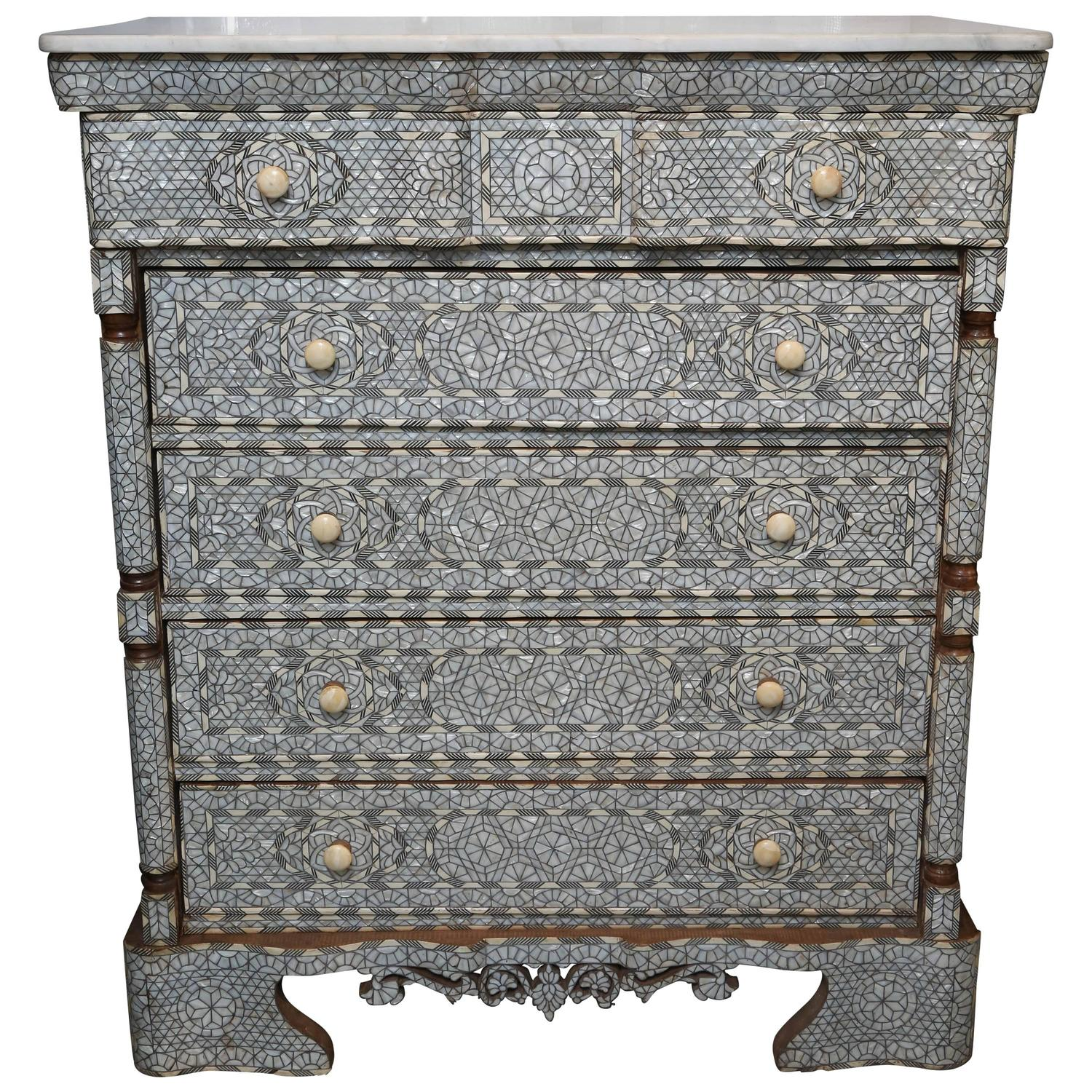 Superb 19th Century Syrian Five Drawer Mother Of Pearl Inlay Dresser