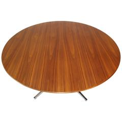 Amazing Walnut Grain Florence Knoll Round Dining Conference Table