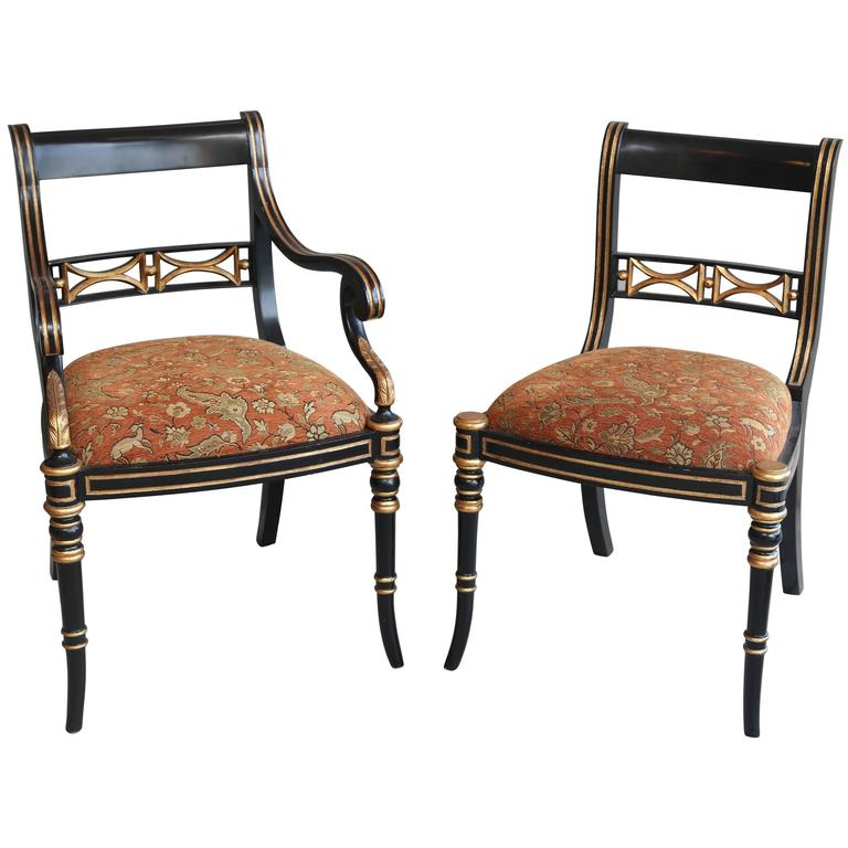 Merveilleux Set Of Six Maitland Smith Gilt Ebony Color Dining Chairs For Sale