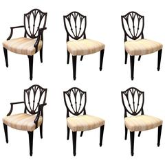 Set of Six Hand-Carved Hepplewhite Style Dining Chairs