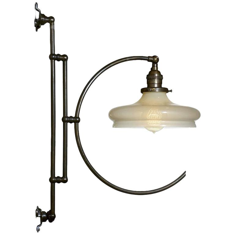 Elegant Articulated Vaseline Glass Hoop Light