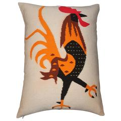 Monumental Rooster Indian Weaving Pillow