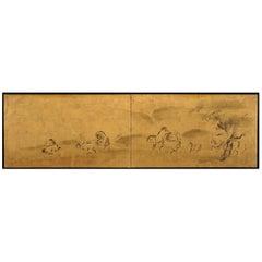 Japanese Screen Painting, Circa 1700 'Horses' by Kano Tanshin