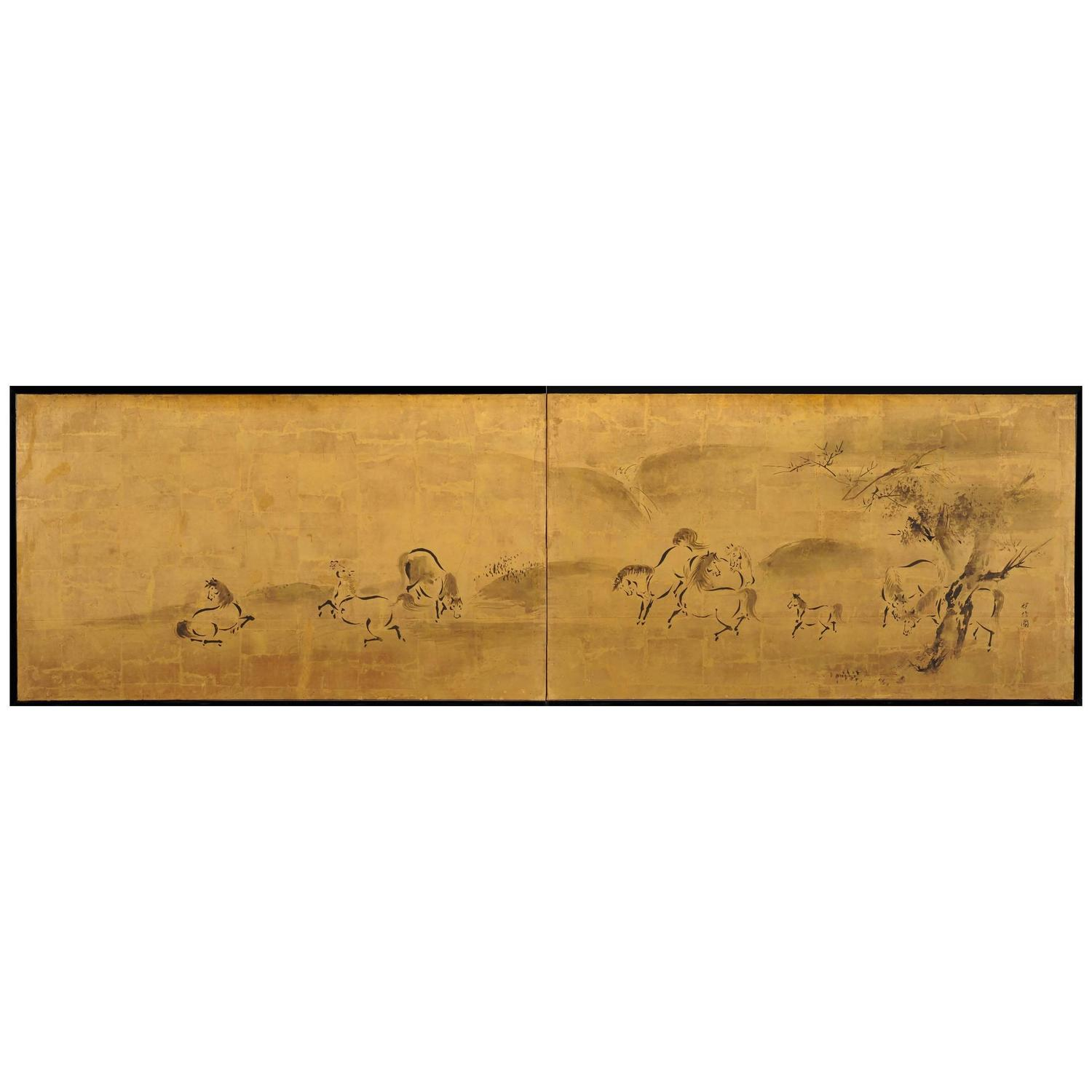 Antique japanese screens for sale - Kano Tanshin 1653 1718 Horses Japanese Folding Screen Painting