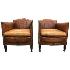 Pair of French Art Deco Leather Club Chairs