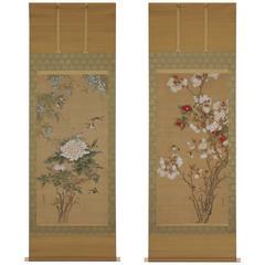 Araki Kanpo (1831-1915), Spring Flowers and Birds, Japanese Scroll Painting Pair