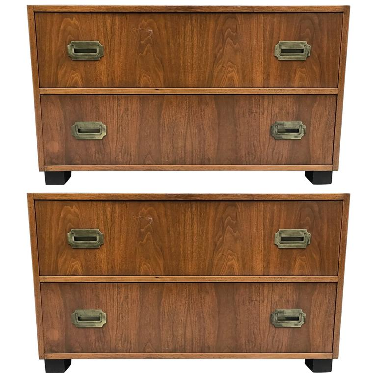 Pair of Walnut Baker Campaign Chests