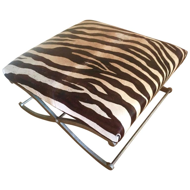 Zebra Hide X Frame Bench Ottoman For Sale At 1stdibs