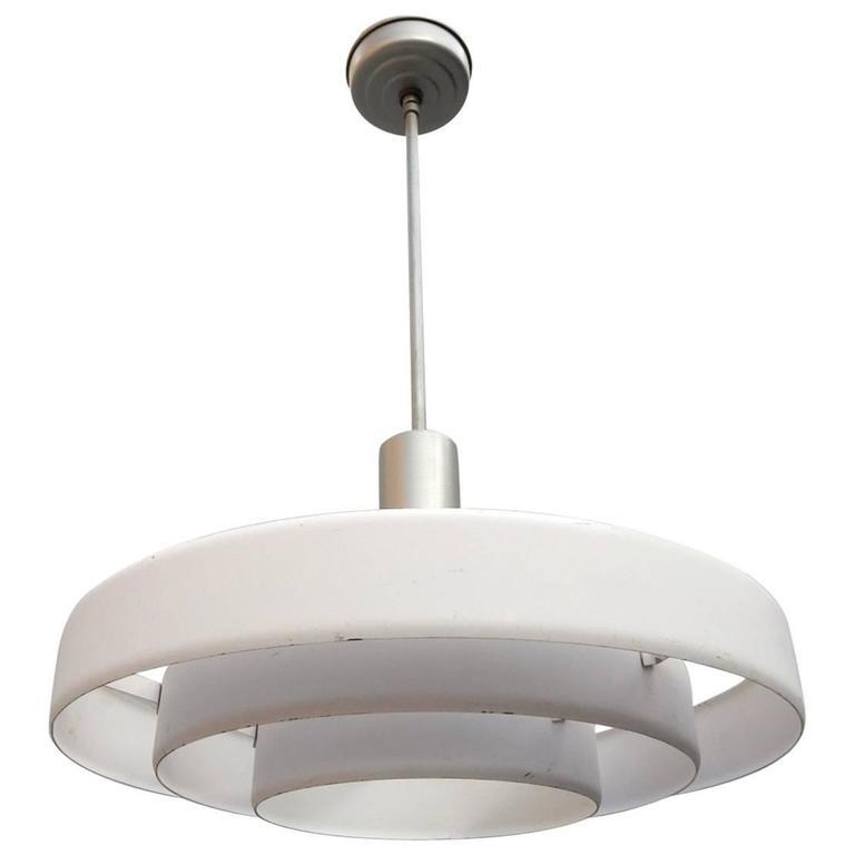 1950s Kurt Versen Saturn Ring UFO Pendant Lamp For Sale
