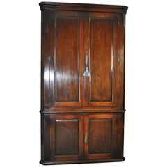 Tall Mid-18th Century Mahogany Corner Cupboard