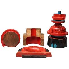 Large 20th Century Industrial Wooden Foundry Molds or Moulds