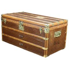 "1930s Steamer Trunk French Brand "" Aux Etats Unis"""