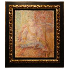 "Angeles Santos Torroella ""Marioneta Birmana"" Oil on Canvas"