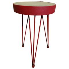 Stylish 1950s French red metal stool on hairpin legs