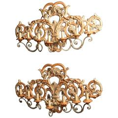 Italian Pair of Large Wooden Wall Lights